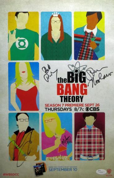 Big Bang Theory Multi Signed Autographed 11x17 Poster Galecki Rauch JSA