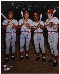 Pete Rose, Johnny Bench, Tony Perez, and Joe Morgan Cincinnati Reds Big Red Machine Autographed 16'' x 20'' Photograph with Inscriptions - Mounted Memories