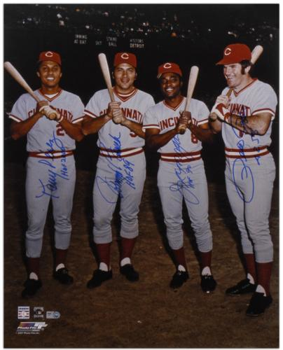 "Pete Rose, Johnny Bench, Tony Perez, and Joe Morgan Cincinnati Reds Big Red Machine Autographed 16"" x 20"" Photograph with Inscriptions"