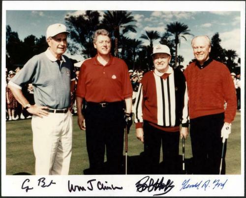 Bill Clinton, George Bush, Gerald Ford & Bob Hope Signed 8X10 Photo PSA #X03401