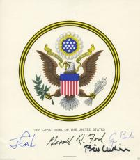 Bill Clinton George H W Bush Jimmy Carter Gerald Ford Signed Seal Jsa Spence Loa