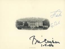 Bill Clinton George H W Bush Jimmy Carter Signed White House Engraving Jsa Coa!!