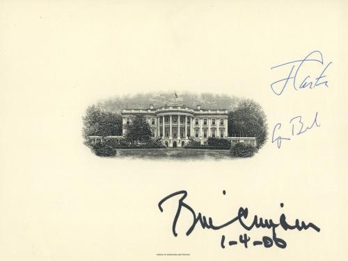 Bill Clinton George H W Bush Jimmy Carter Signed White House Engraving Jsa Coa!!
