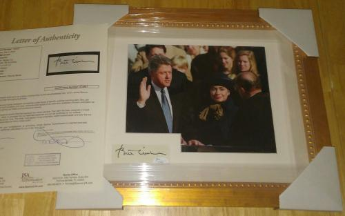Bill Clinton President Autograph Signed 13x16 Matted & Framed Rare Jsa Loa