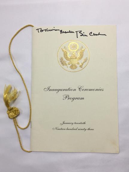 Bill Clinton Signed 1993 Presidential Inauguration Pamphlet JSA LOA