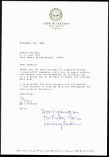 Bill Clinton Signed 7.25x10.5 1984 Letter as Governor of AR PSA/DNA #Y06747
