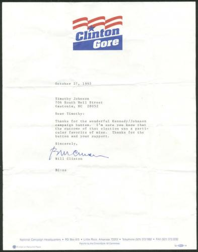 Bill Clinton Signed Autographed 1992 Letter John F Kennedy Content Beckett BAS