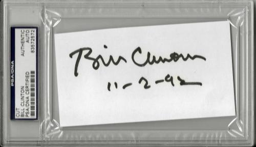 """Bill Clinton Signed Autographed 2.75"""" x 4.75"""" Page w/ DATE OF PRESIDEN"""