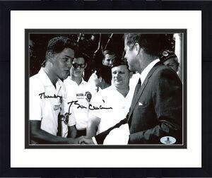"Bill Clinton ""Thanks"" Signed B&W 8X10 Photo Meeting JFK BAS #A00309"