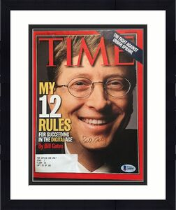 BILL GATES SIGNED 1999 TIME MAGAZINE COVER BECKETT Bas Coa REAL AUTOGRAPH RARE