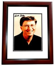 Bill Gates Signed - Autographed Microsoft co-founder - Computer Pioneer 5x7 inch Photo - MAHOGANY CUSTOM FRAME - Guaranteed to pass JSA or Beckett