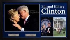 Bill + Hilary Clinton Autographed Signed 11x14 Photo With Custom Display Case