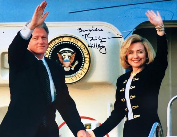 Bill & Hillary Clinton (Boarding Air Force One) 11x14 Signed Photo JSA