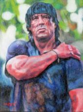 Bill Pruitt Signed 9x12 Sylvester Stallone Rambo Painting