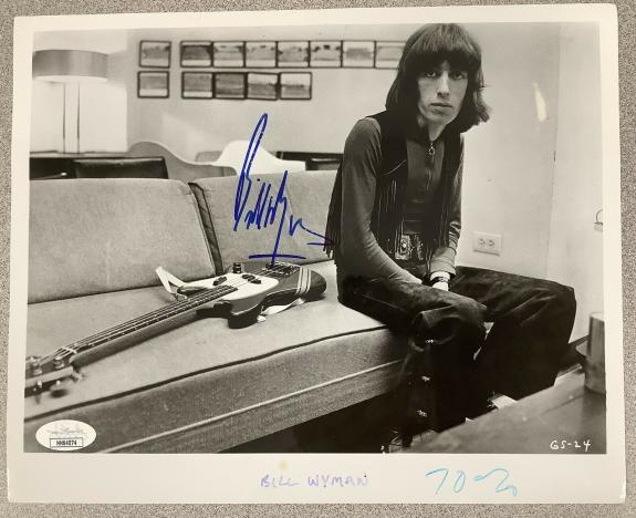 Bill Wyman Signed Photo 8x10 JSA Rolling Stones Autograph Bass Guitar HOF JSA