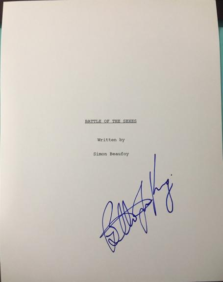 "Billie Jean King Signed Autograph ""battle Of The Sexes"" Full Movie Script Coa"