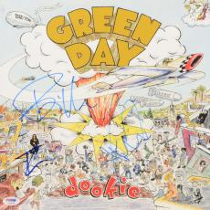 Billie Joe Armstrong, Tre Cool & Mike Dirnt Autographed Green Day Dookie Album Cover - PSA/DNA LOA