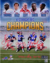 """Buffalo Bills 4 Straight AFC Champs Autographed 16"""" x 20"""" Photograph with """"HOF"""" Inscription"""