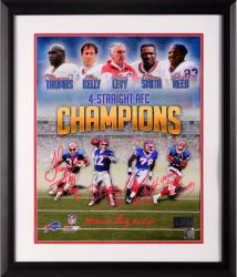 """5 Signatures Buffalo Bills 4 Straight AFC Champs Framed Autographed 16"""" x 20"""" Photograph with HOF Inscriptions"""