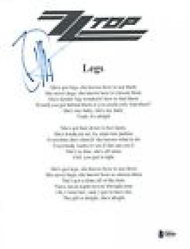 Billy Gibbons Signed Autograph ZZ Top LEGS Song Lyric Sheet Beckett BAS COA