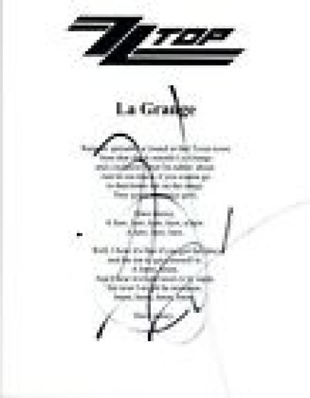 Billy Gibbons Signed Autographed ZZ Top LA GRANGE Song Lyric Sheet COA