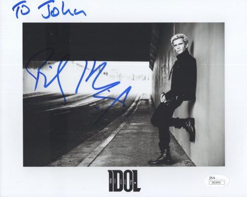 BILLY IDOL HAND SIGNED 8x10 PHOTO       ROCK+ROLL LEGEND      TO JOHN        JSA