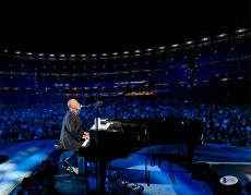"""Billy Joel Autographed 11"""" x 14"""" Playing the Piano and Singing with Crowd in Background Photograph - Beckett COA"""