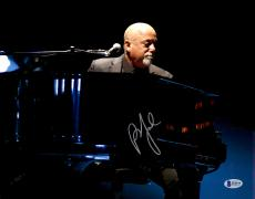"""Billy Joel Autographed 11"""" x 14"""" Playing the Piano Wearing Grey Suit Photograph - Beckett COA"""