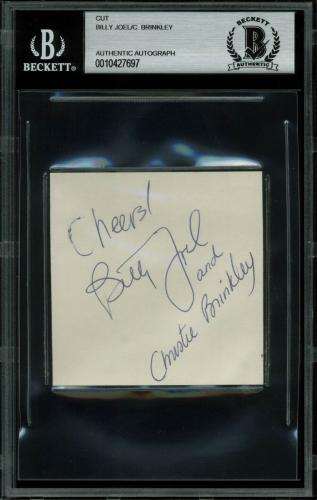 Billy Joel & Christie Brinkley Signed 3x3 Cut Signature BAS Slabbed