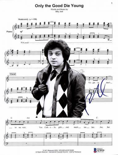 Billy Joel Signed Only the Good Die Young Music Sheet BAS #Q78926