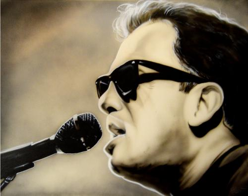 Billy Joel With Microphone Un-Signed Rare Hand Painted 28x22 Canvas