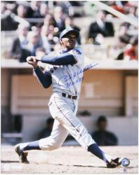 Billy Williams Chicago Cubs Autographed 16'' x 20'' Swinging Photograph with HOF 87 Inscription - Mounted Memories