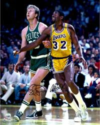 Larry Bird Boston Celtics & Magic Johnson Los Angeles Lakers Dual Autographed 16'' x 20'' Looking Up Photograph - Mounted Memories