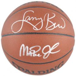 Larry Bird Boston Celtics & Magic Johnson Los Angeles Lakers Dual Autographed Spalding Indoor Outdoor Basketball - Mounted Memories