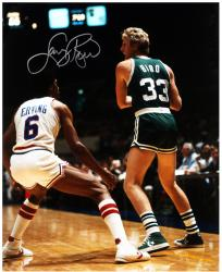 Larry Bird Boston Celtics Autographed 16'' x 20'' with Julius Erving Photograph - Mounted Memories