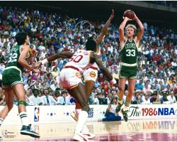Larry Bird Boston Celtics Autographed 16'' x 20'' 1986 NBA Finals Photograph - Mounted Memories