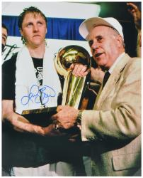 Larry Bird Boston Celtics Autographed 16'' x 20'' Receiving Trophy Photograph - Mounted Memories