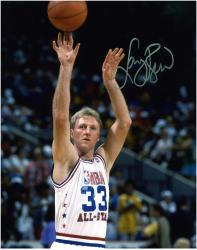 Larry Bird NBA All-Star Team Autographed 8'' x 10'' Jump shot Photograph - Mounted Memories