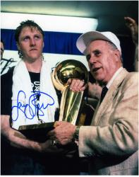 Larry Bird Boston Celtics Autographed 8'' x 10'' with Red Auerbach Photograph - Mounted Memories