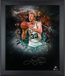 Larry Bird Boston Celtics Framed Autographed 20'' x 24'' In Focus Photograph-Limited Edition of 33 - Mounted Memories