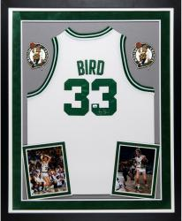 Larry Bird Boston Celtics Autographed Deluxe Framed Adidas Swingman White Jersey