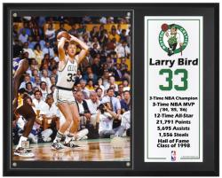 "Boston Celtics Larry Bird 12"" x 15"" Plaque with 8"" x 10"" Photograph & Plate"