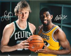 Larry Bird & Magic Johnson Autographed 16'' x 20'' Gold Pose Photograph - Mounted Memories