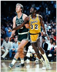 Larry Bird & Magic Johnson Autographed 16'' x 20'' Photograph - Mounted Memories