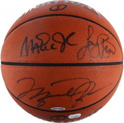 Larry Bird, Michael Jordan, & Magic Johnson Triple Autographed Spalding Pro Basketball