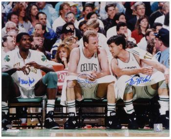 "Boston Celtics Robert Parish, Larry Bird, and Kevin McHale Autographed 16"" x 20"" Photo"