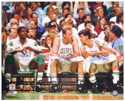 "Larry Bird/Robert Parrish/Kevin McHale Autographed 16"" x 20"" Bench Photograph"