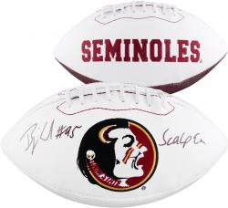 "Bjoern Werner Florida State Seminoles Autographed White Panel Football with ""Scalp Em"" Inscription"
