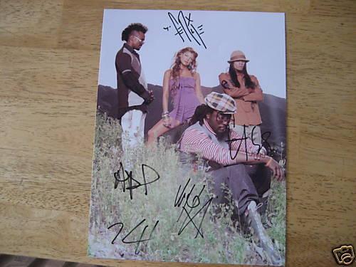 Black Eyed Peas Signed Group 8x10 Photo Fergie All 5 Jsa Coa