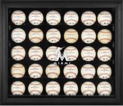 Miami Marlins Logo Black Framed 30-Ball Display Case